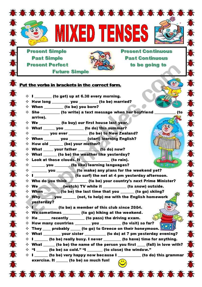 Mixed tenses worksheet