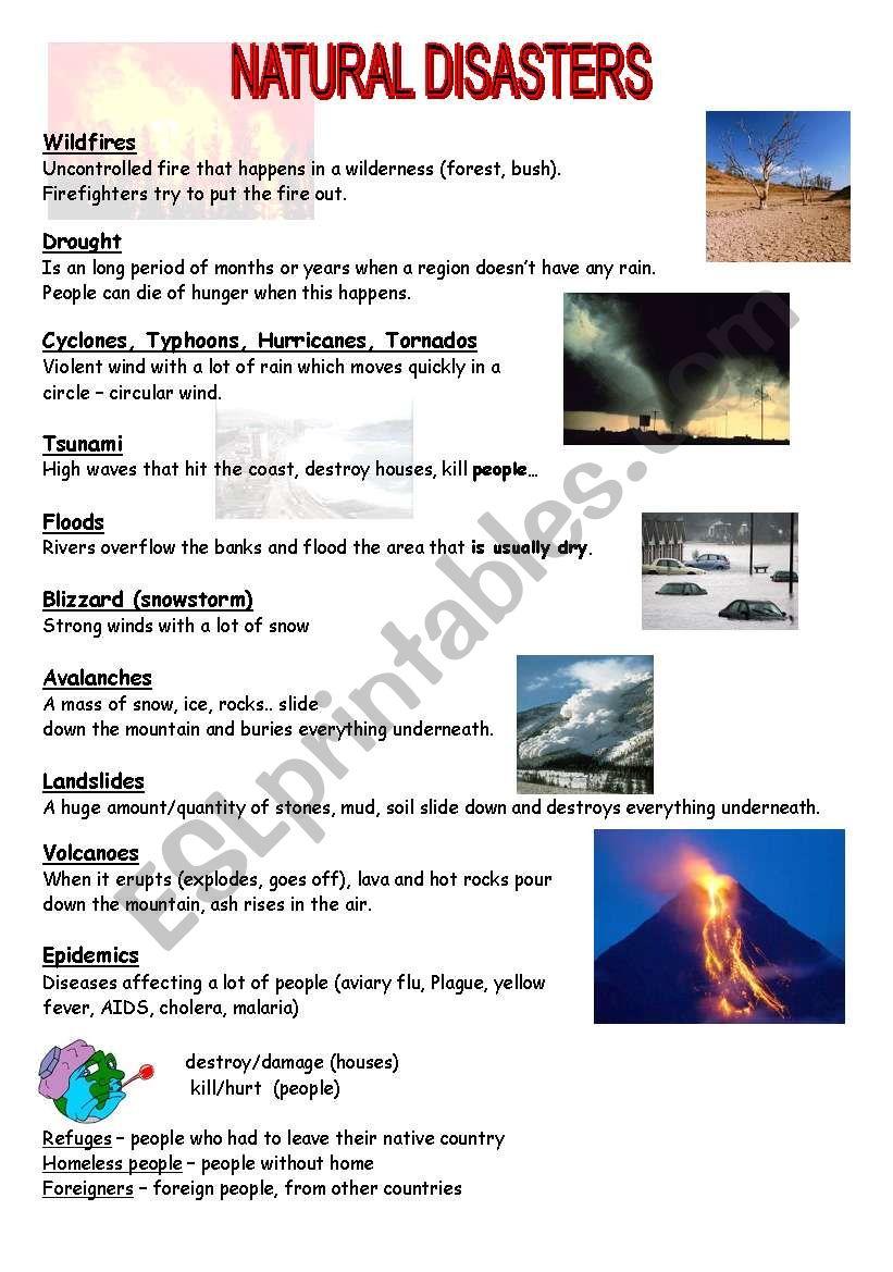 natural disasters esl worksheet by mojcafurlan. Black Bedroom Furniture Sets. Home Design Ideas