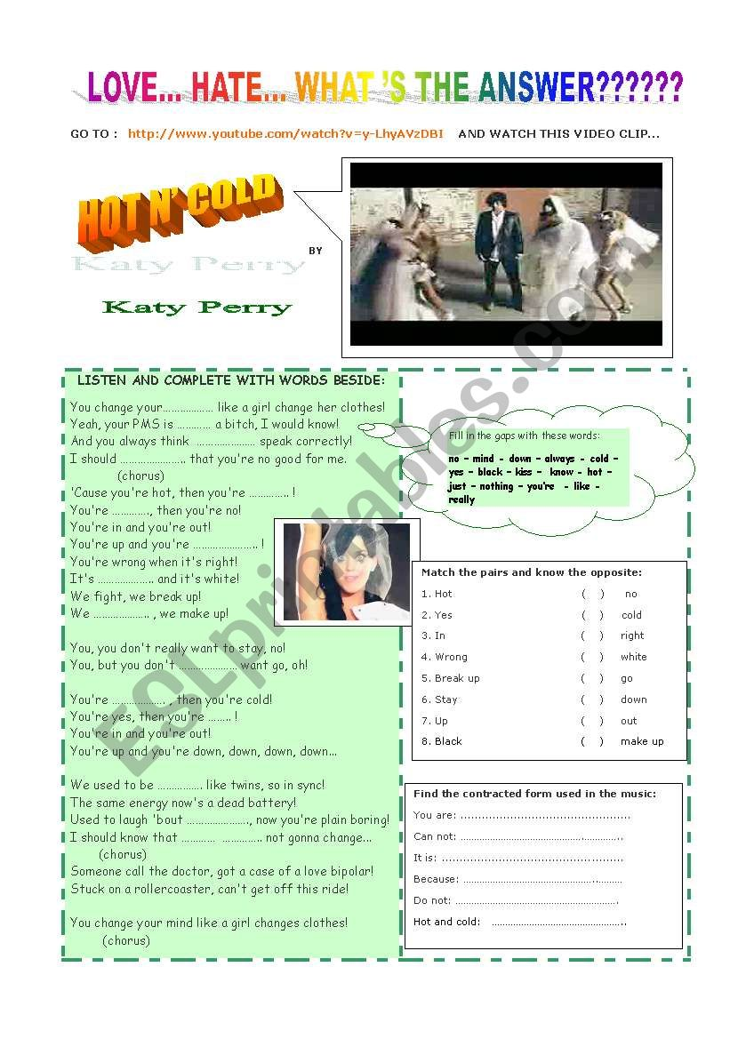 Activities  with MUSIC  worksheet