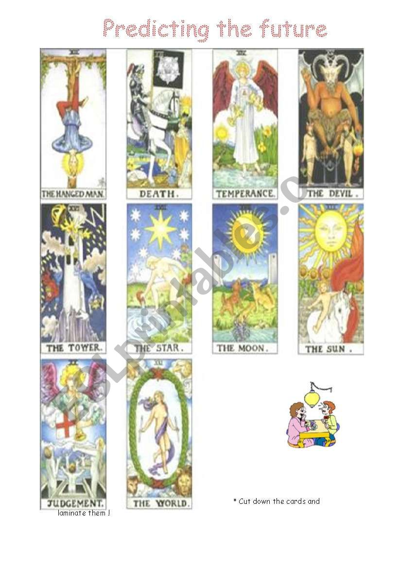 Predicting the future - Tarot reading game - ESL worksheet by