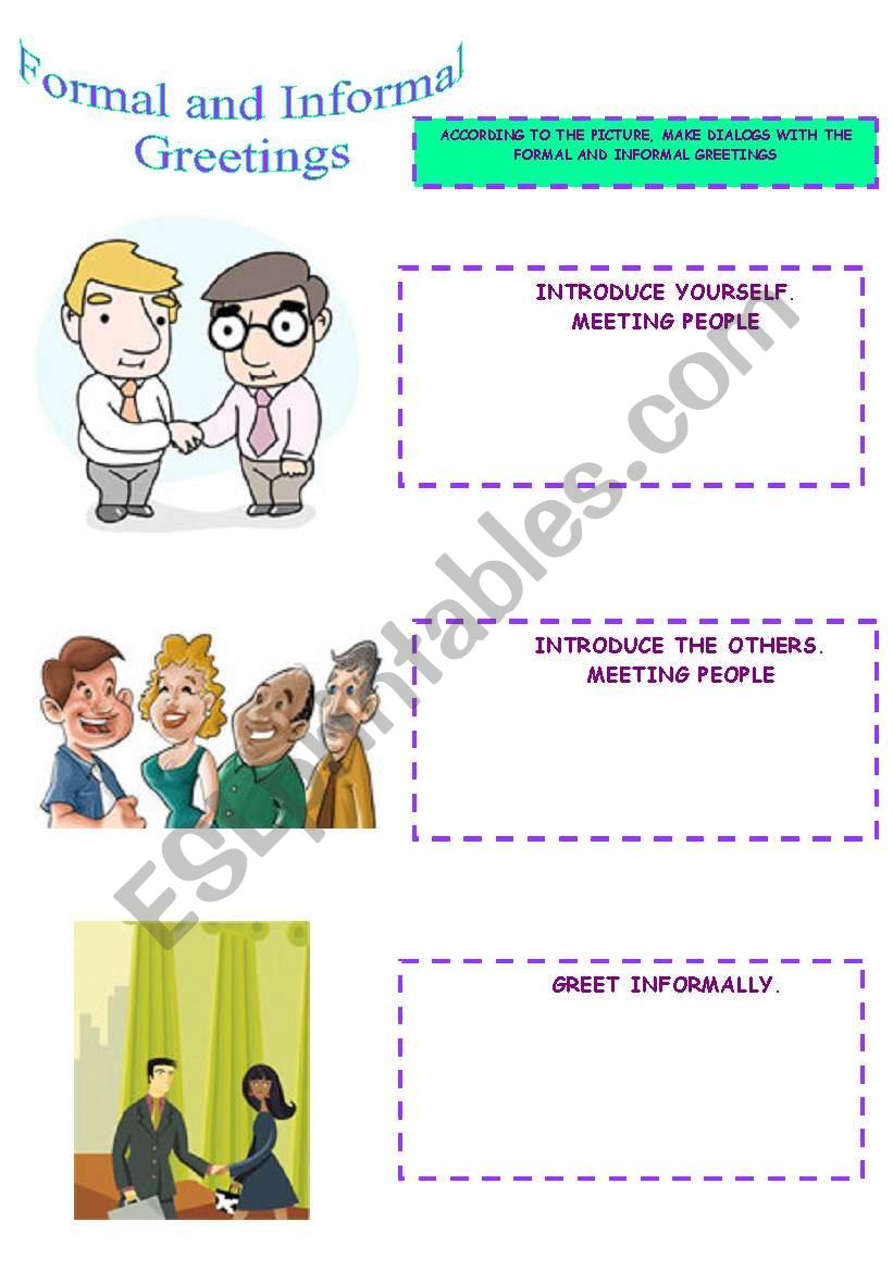 Formal and informal greetings esl worksheet by lomasbello formal and informal greetings worksheet m4hsunfo