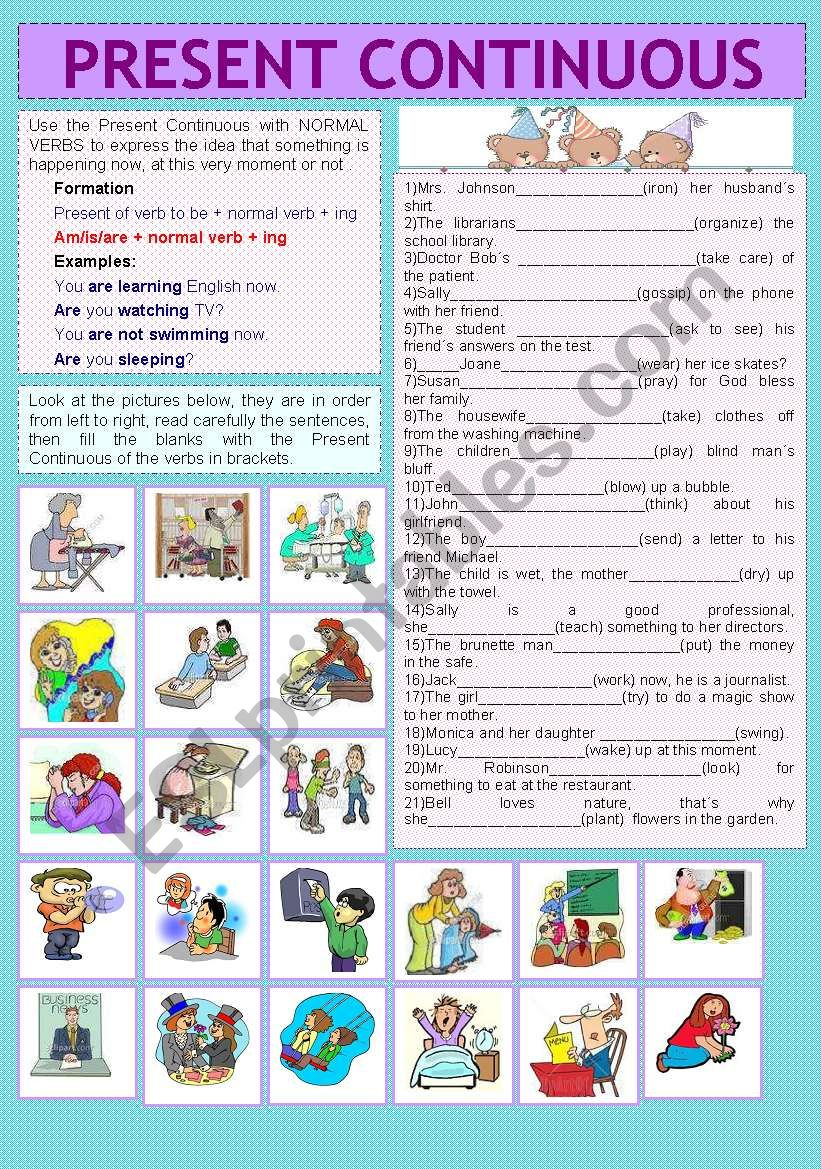 PRESENT CONTINUOUS worksheet