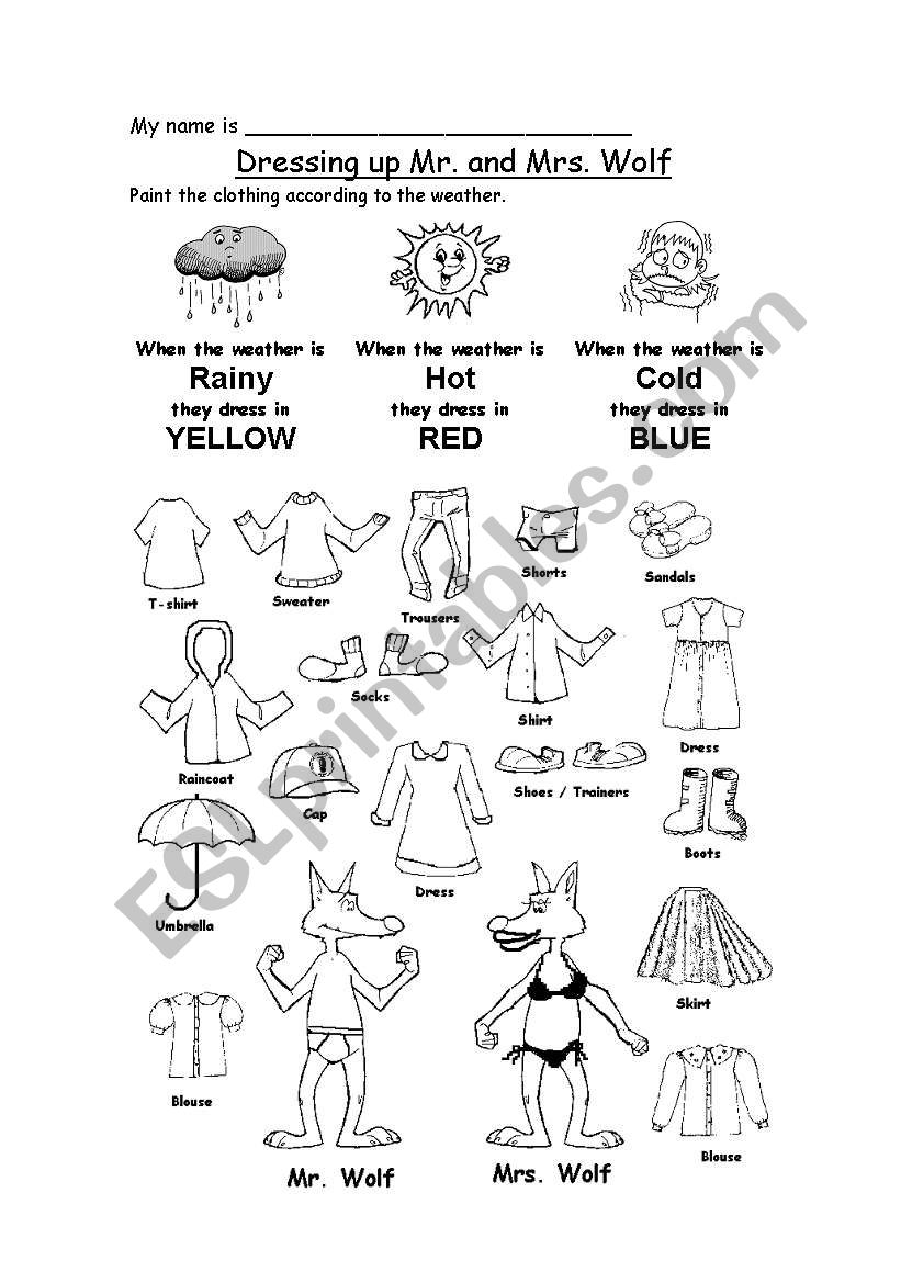 Dressing mr and mrs wolf esl worksheet by jandri dressing mr and mrs wolf worksheet ibookread PDF