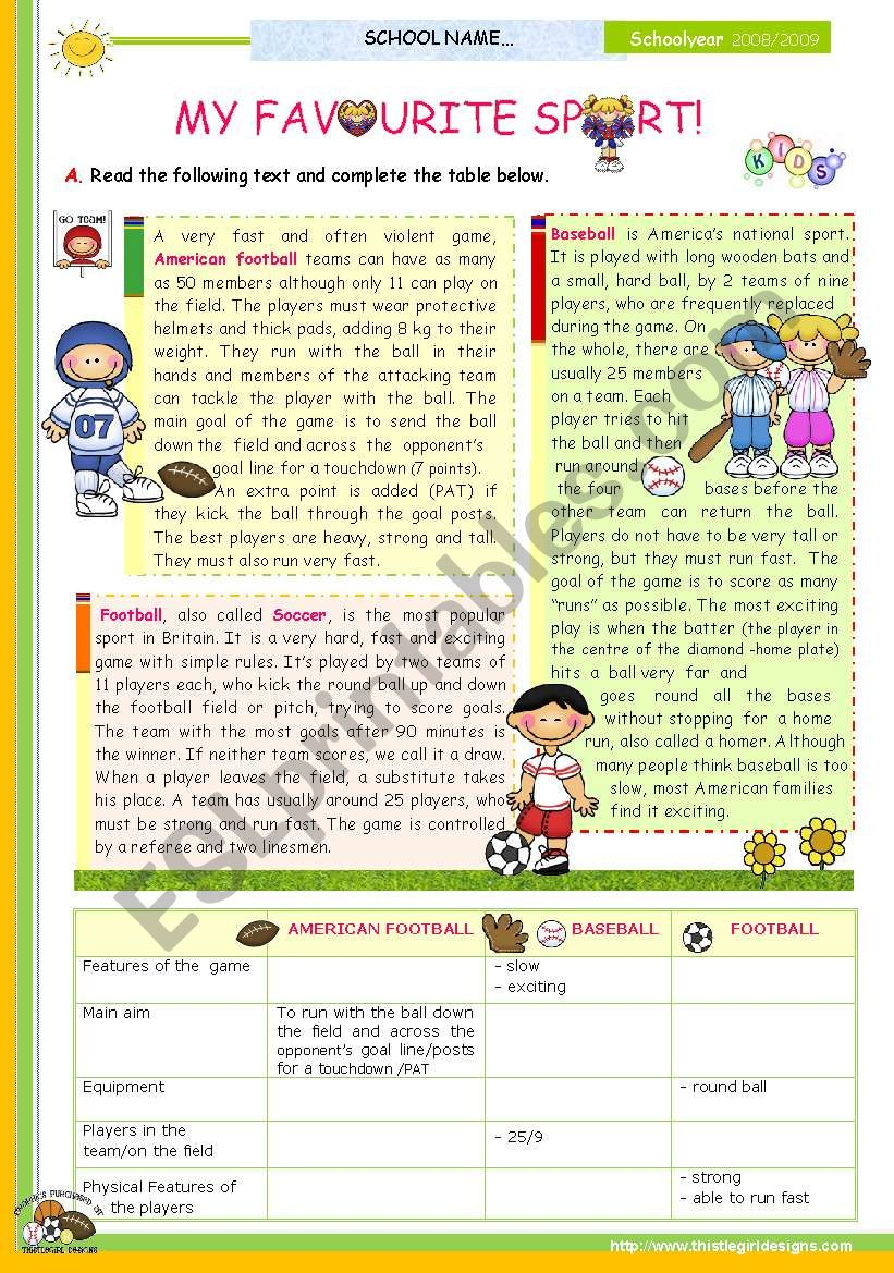 The 1st 45-minute-lesson (of 2) on the topic My Favourite Sport  --  Reading Comprehension for Upper Elementary and Lower intermediate students