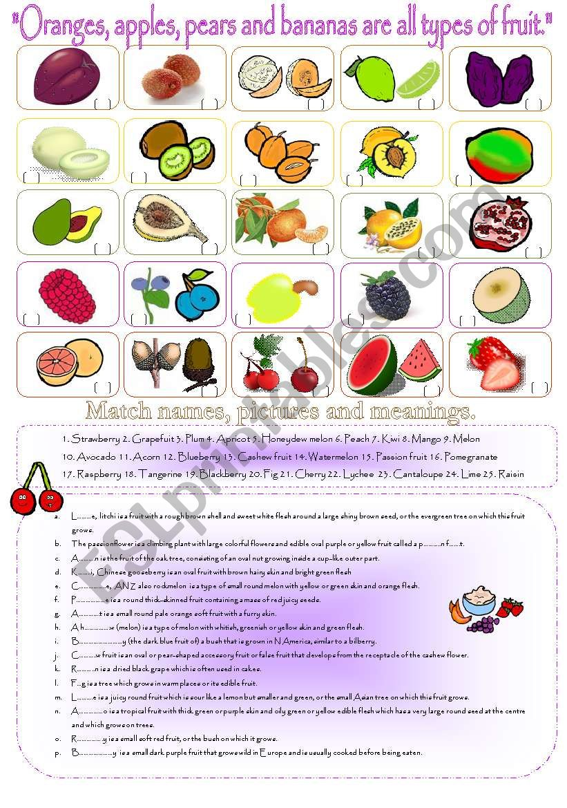 Oranges Apples Pears And Bananas Are All Types Of Fruit Esl