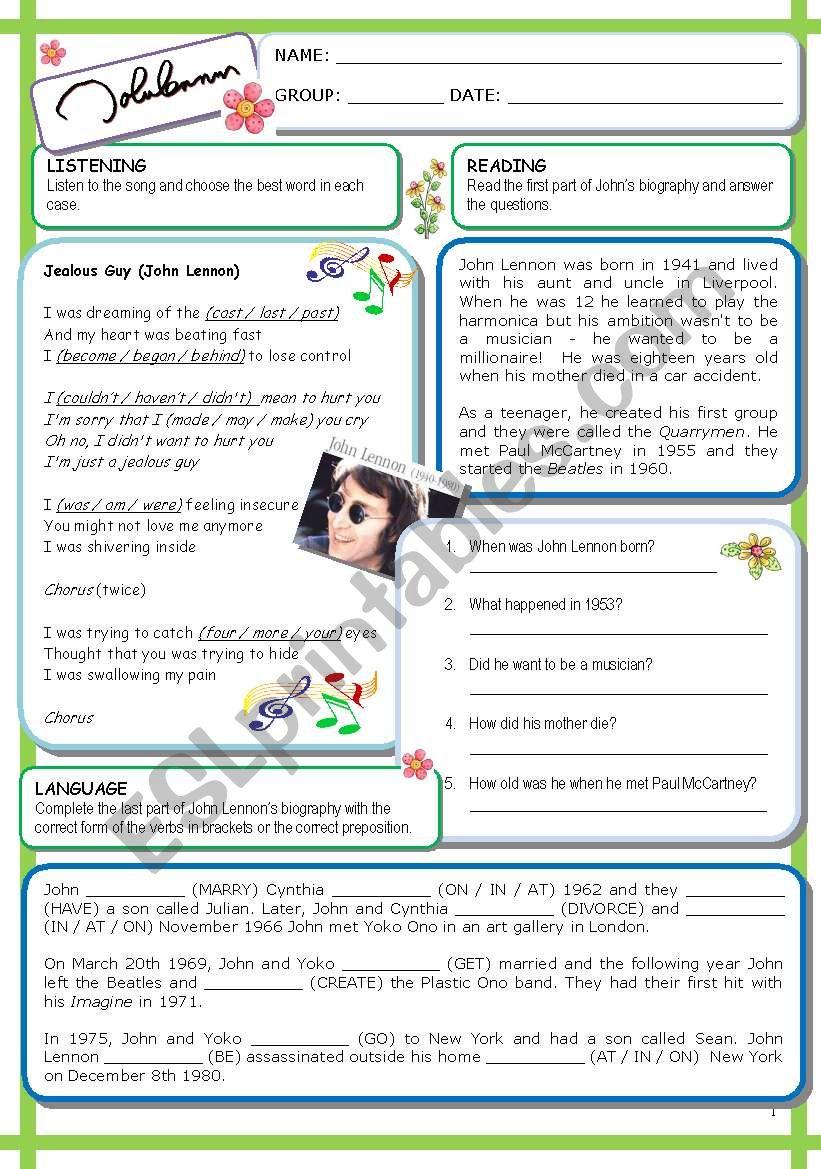 John Lennon (1  / 6 / 09) worksheet