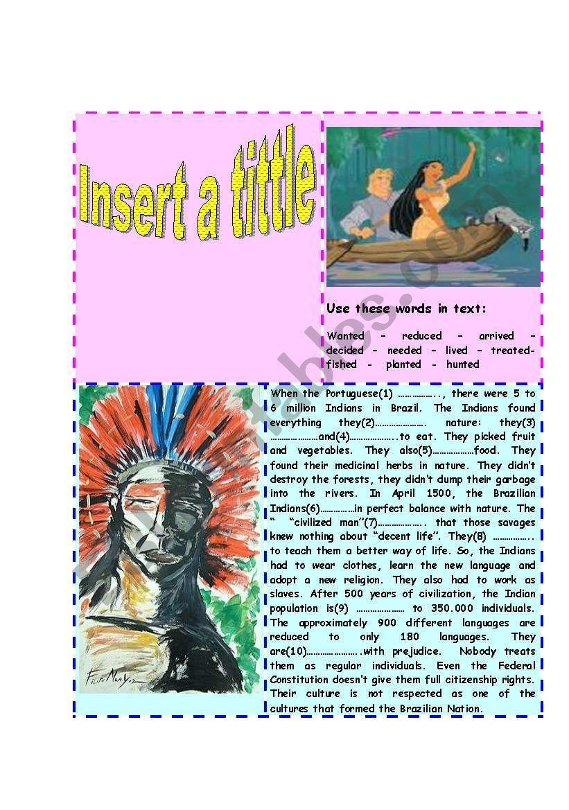 The  Indians worksheet