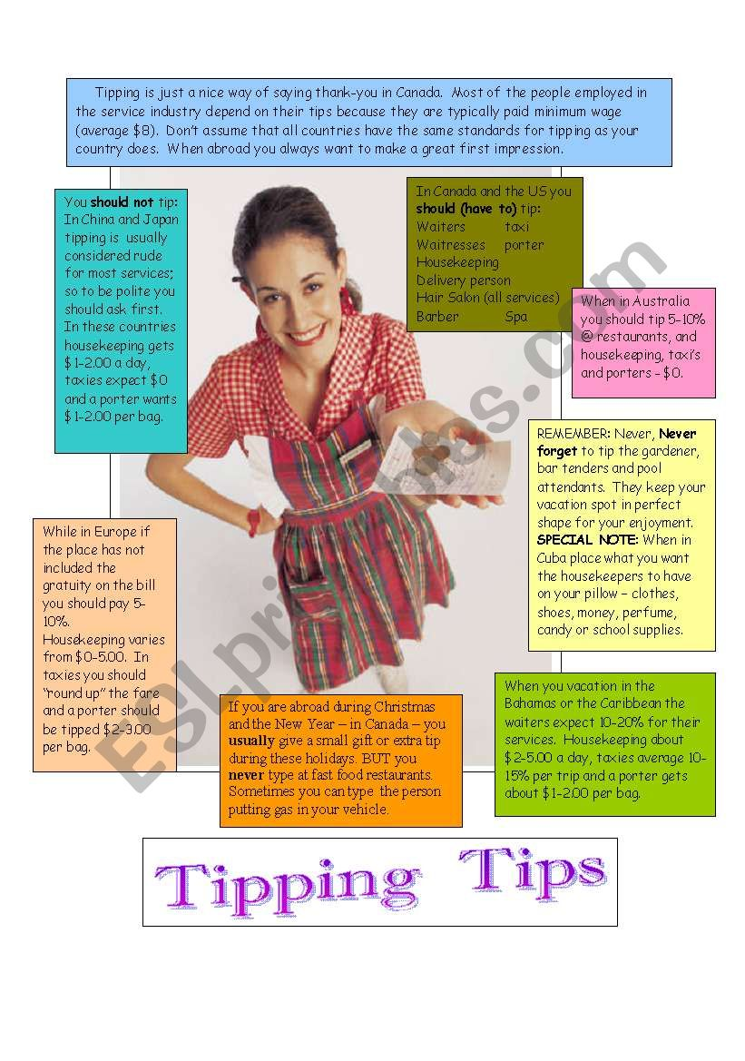 Tipping for your services worksheet