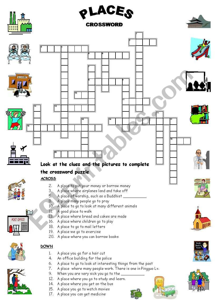 places crossword esl worksheet by mysouldances. Black Bedroom Furniture Sets. Home Design Ideas