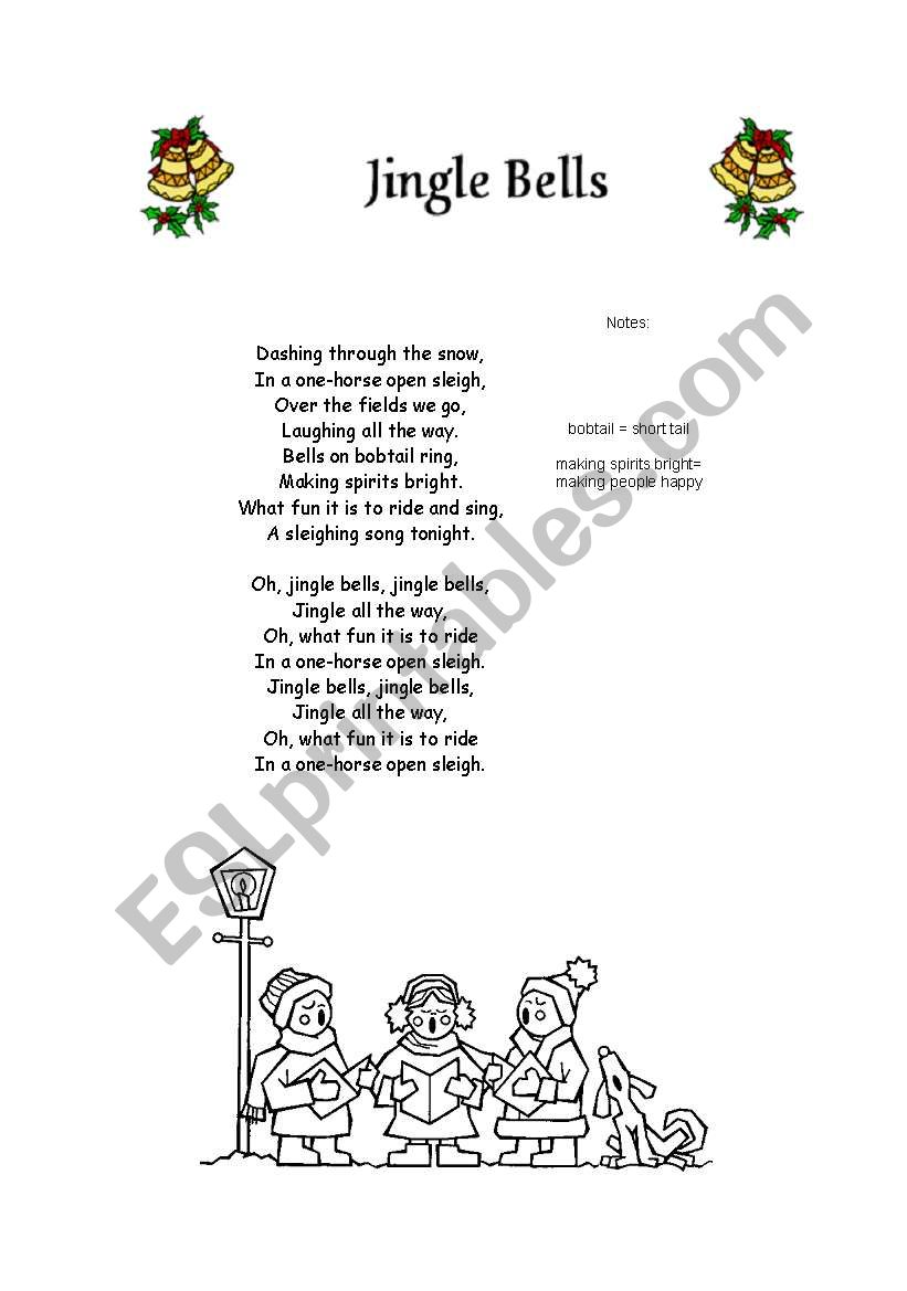 picture regarding Jingle Bells Lyrics Printable referred to as English worksheets: Jingle Bells Lyric