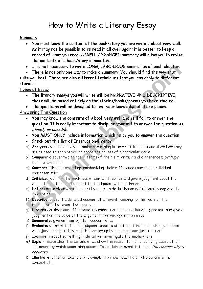 how to write a literary essay  esl worksheet by missveronica how to write a literary essay worksheet