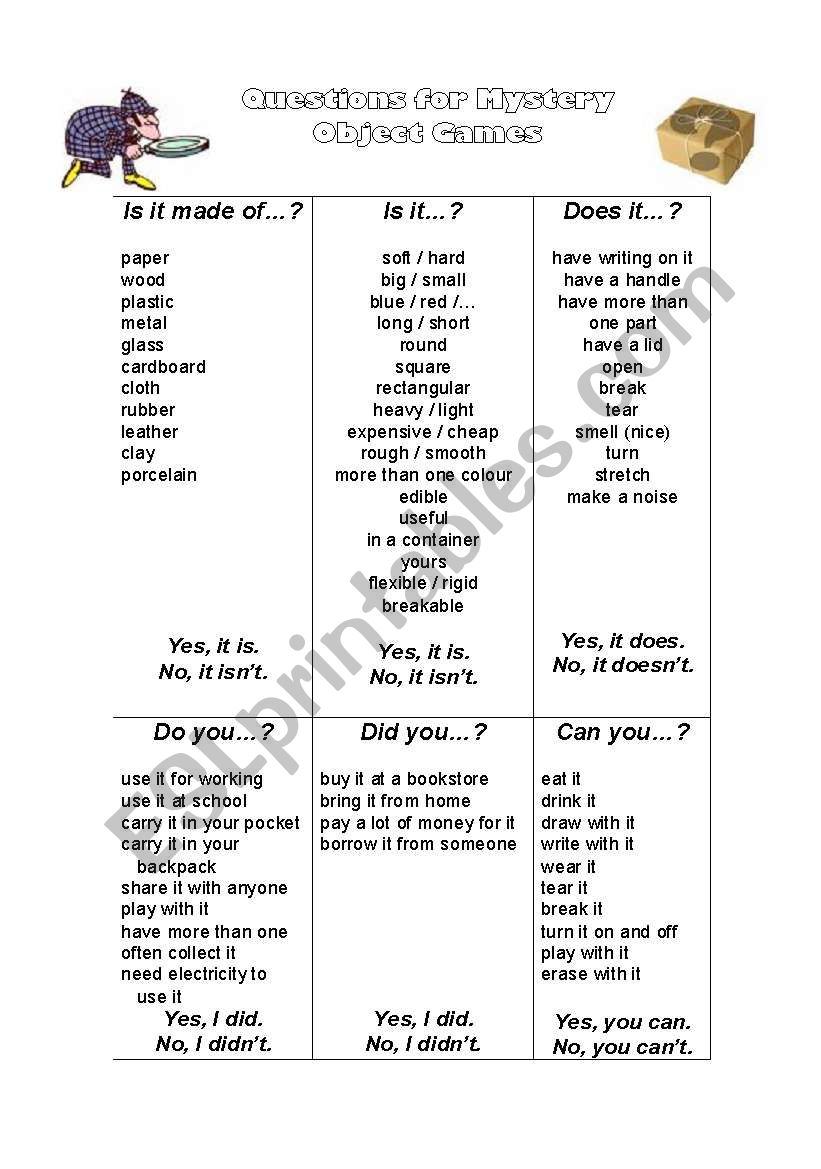 Oral Language: Mystery Object Guessing Game - ESL worksheet by abennie