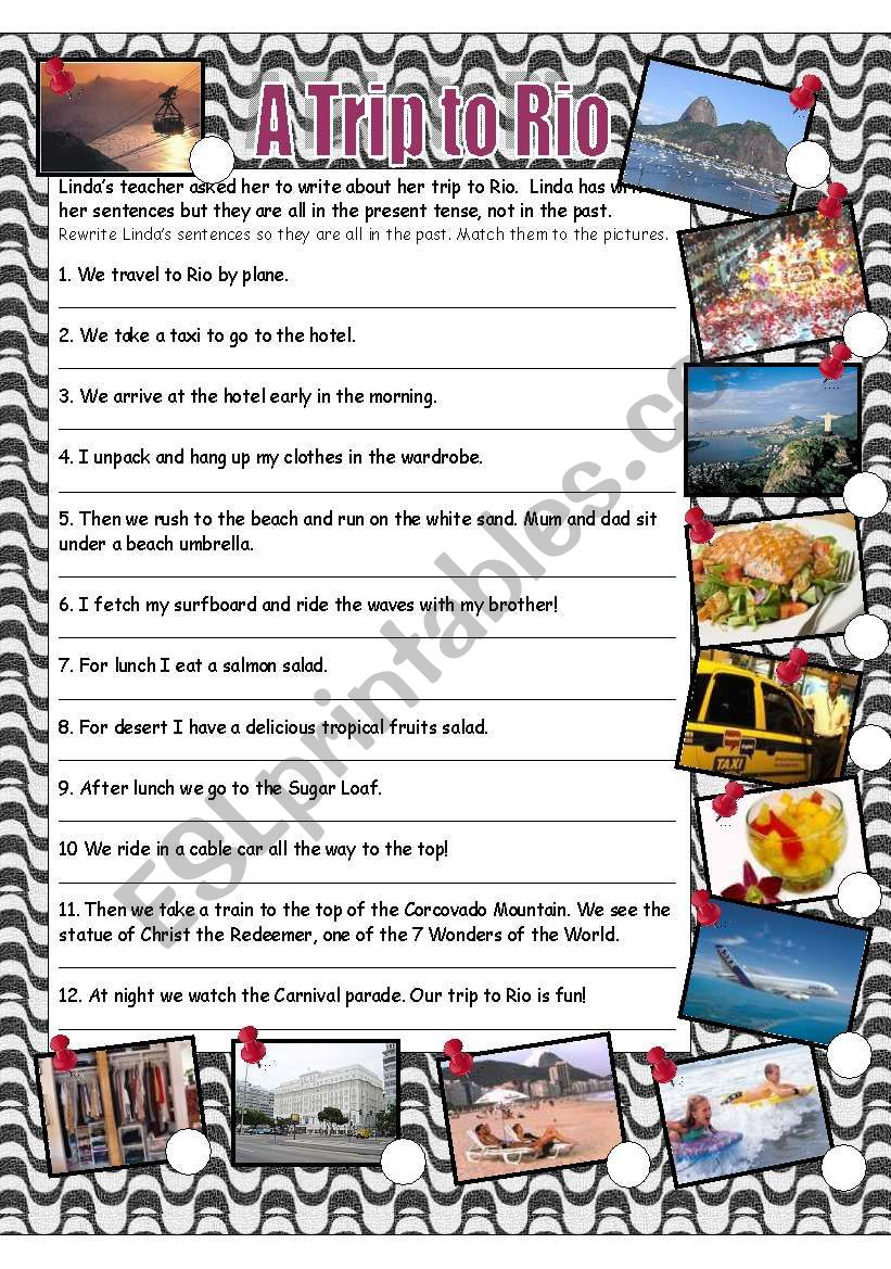 A trip to Rio - A past tense exercise - ESL worksheet by Anna P