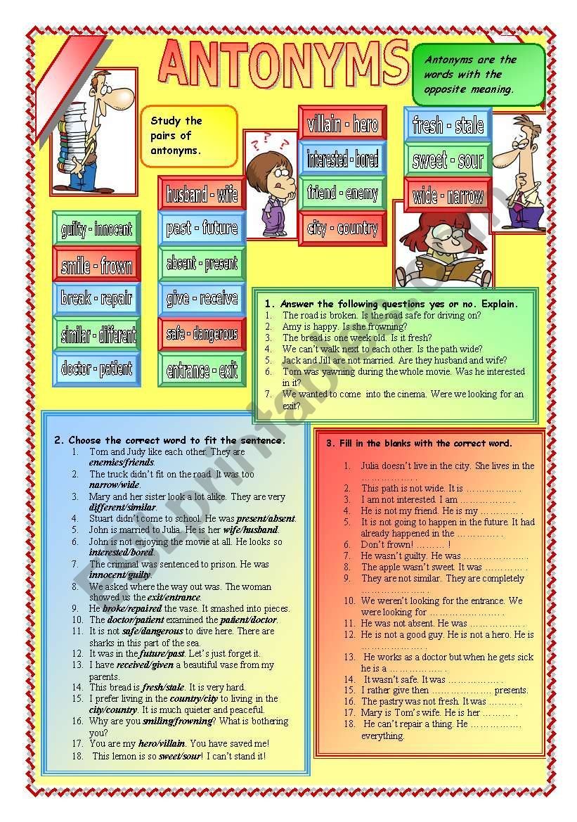Antonyms worksheet