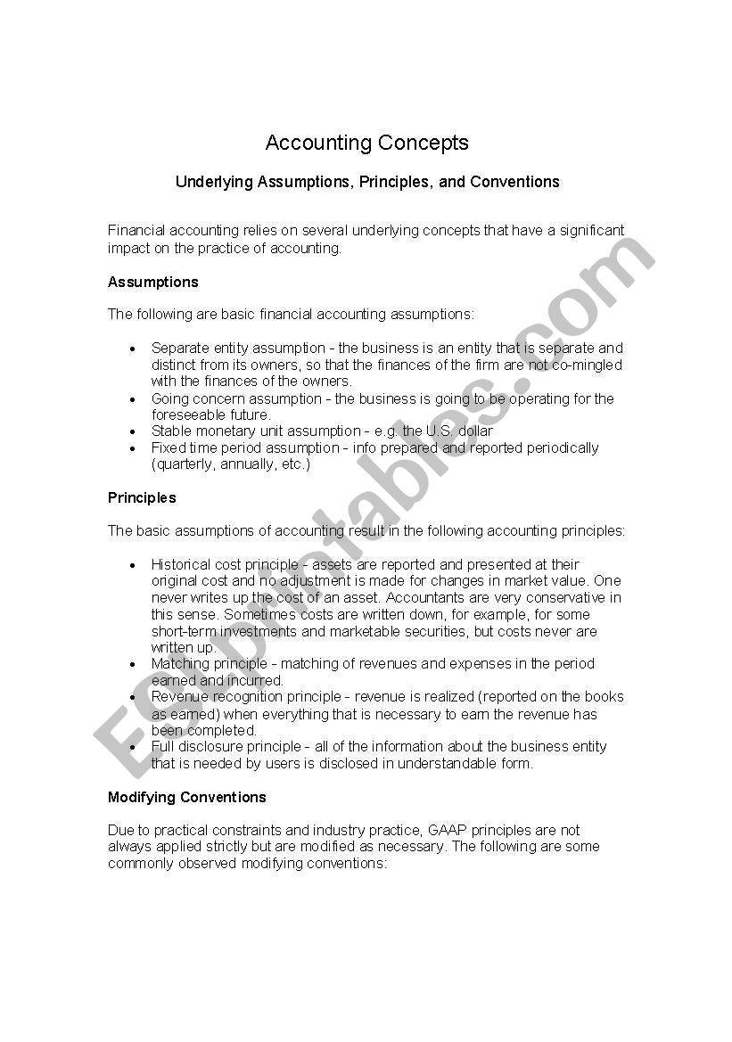 English worksheets: Accounting Concepts