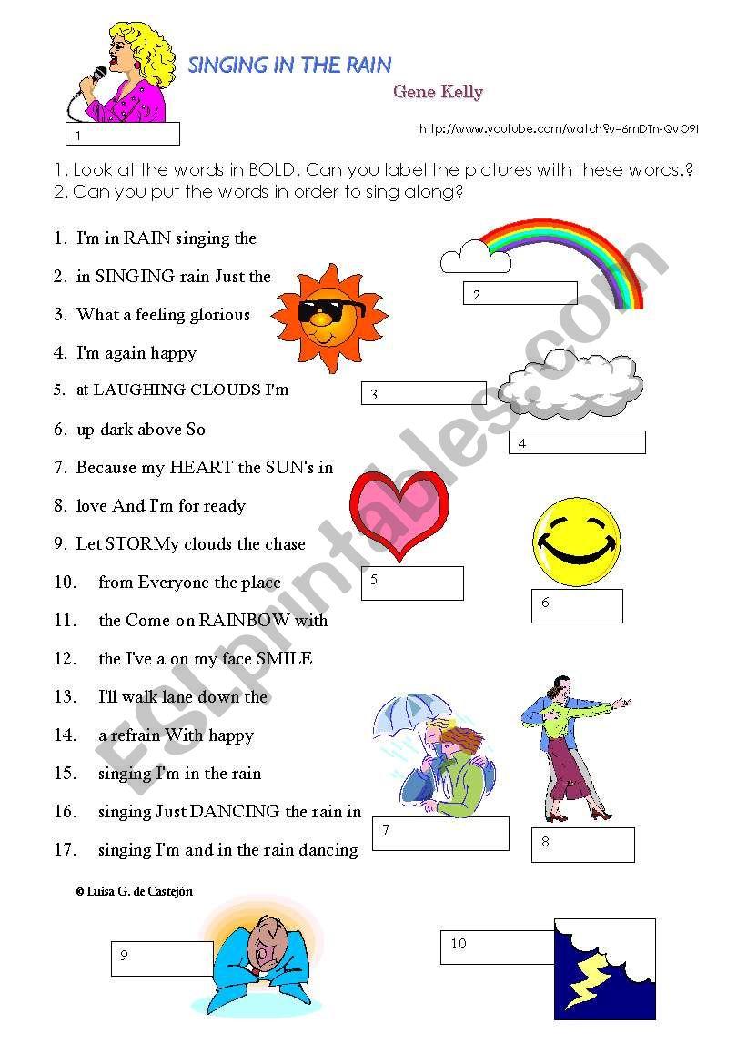 Singing in the rain worksheet