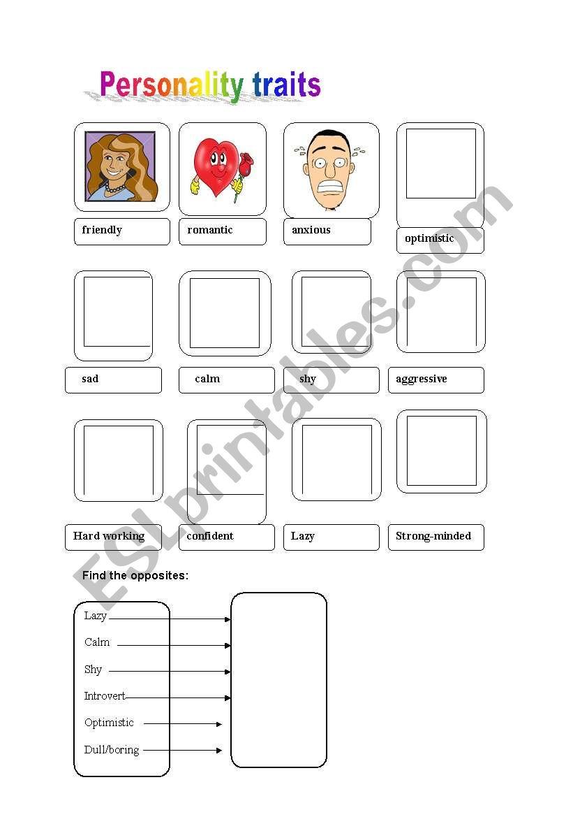 Personality traits worksheet