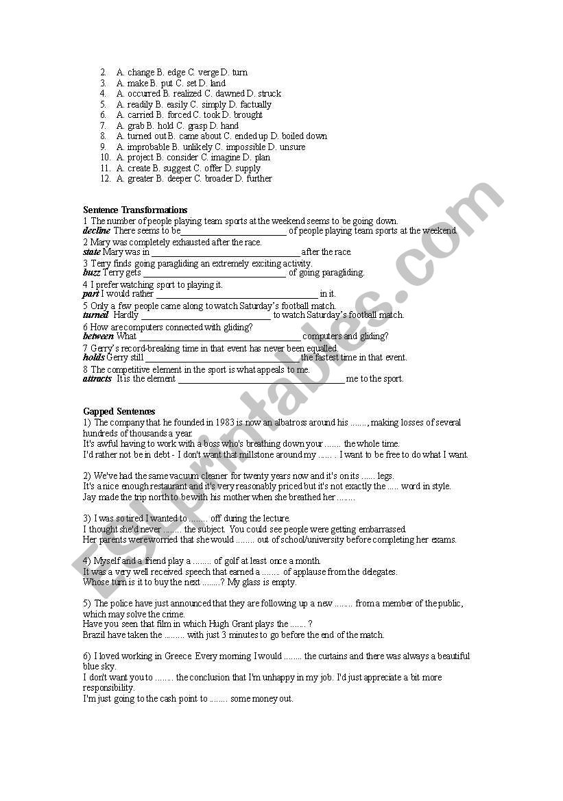 CAE Use of English + Key - ESL worksheet by ljuby