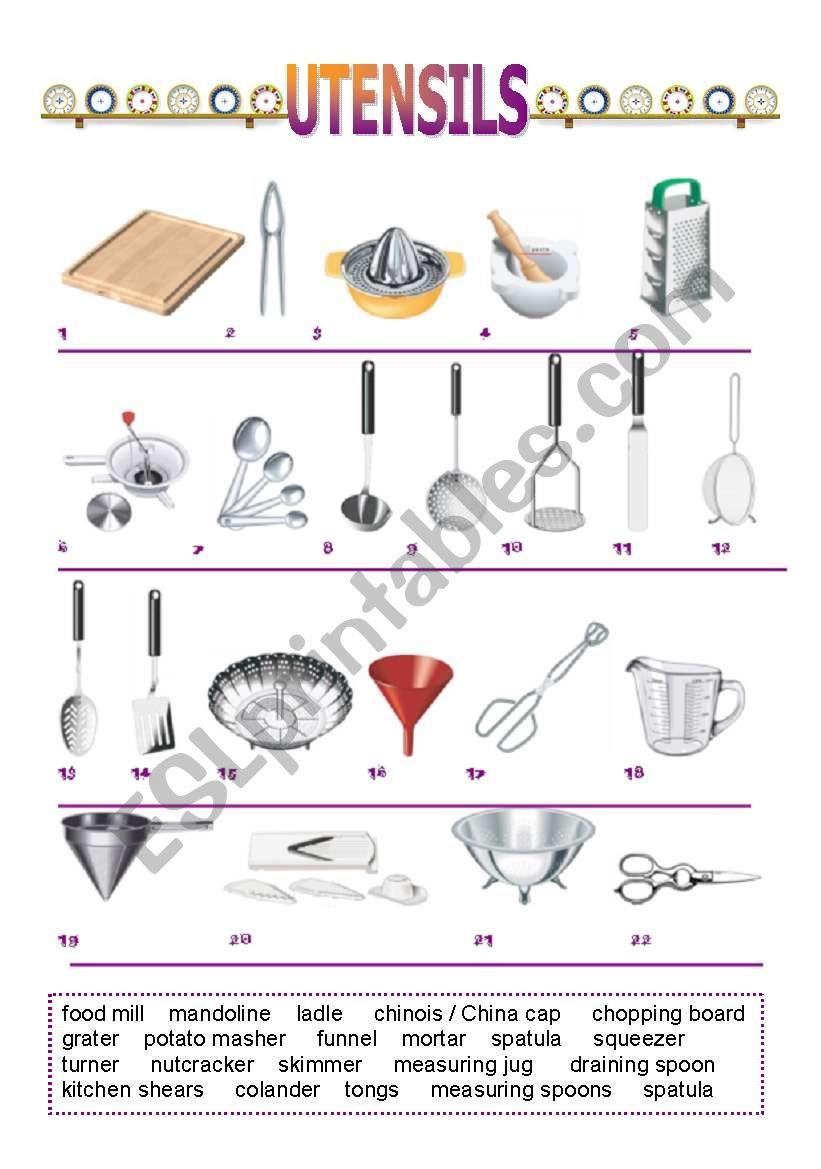 Kitchen Utensils Esl Worksheet By Pitudiaz