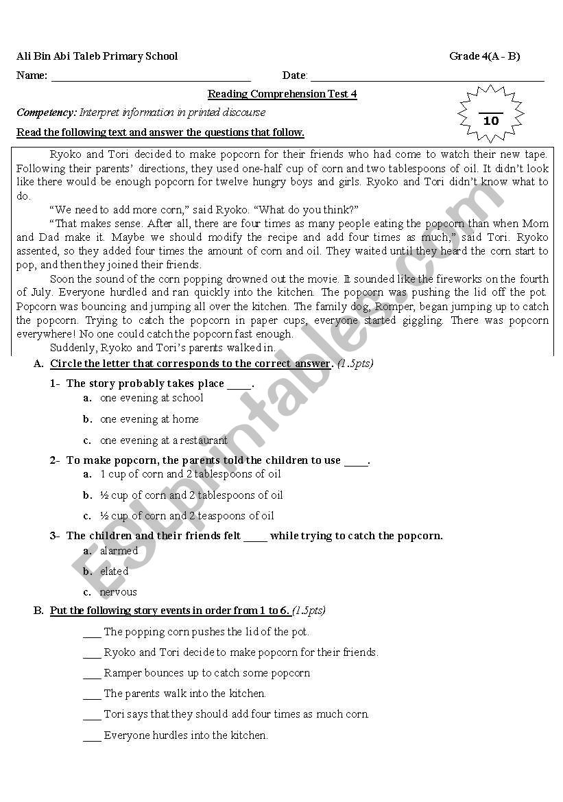 - Reading Comprehension For Grade 4 - ESL Worksheet By Nanoushka