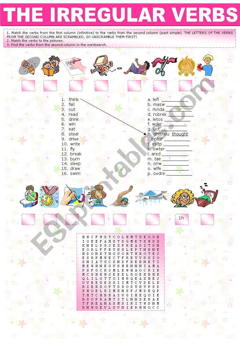 irregular verbs - unscramble, match, wordsearch