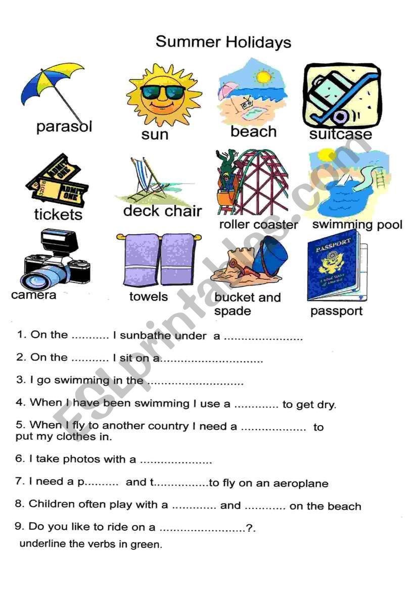 summer holidays esl worksheet by cathrine. Black Bedroom Furniture Sets. Home Design Ideas