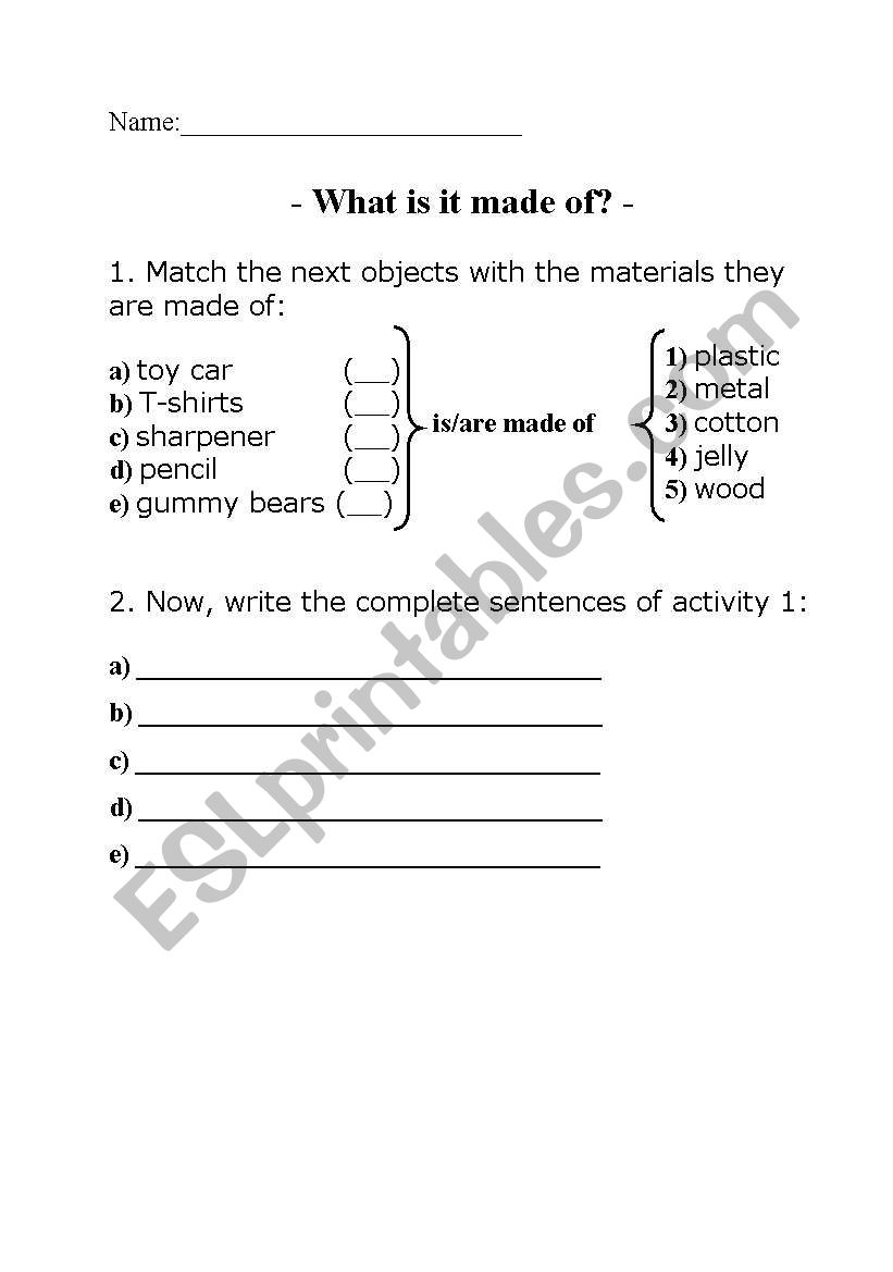is/are made of worksheet
