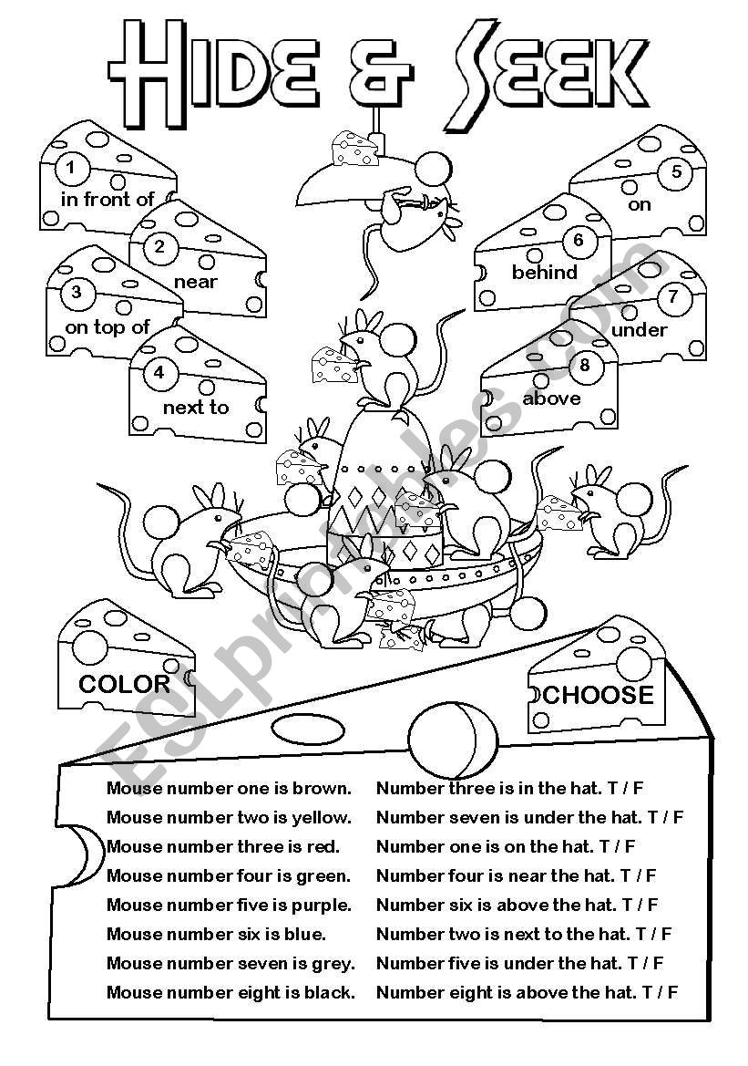 Hide & Seek (prep. place) worksheet