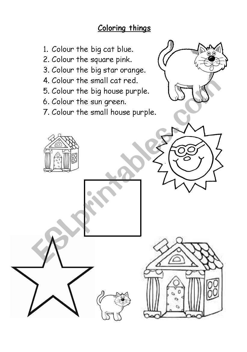 Coloring things worksheet