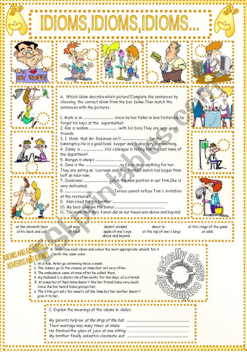 Idioms,idioms,idioms... worksheet