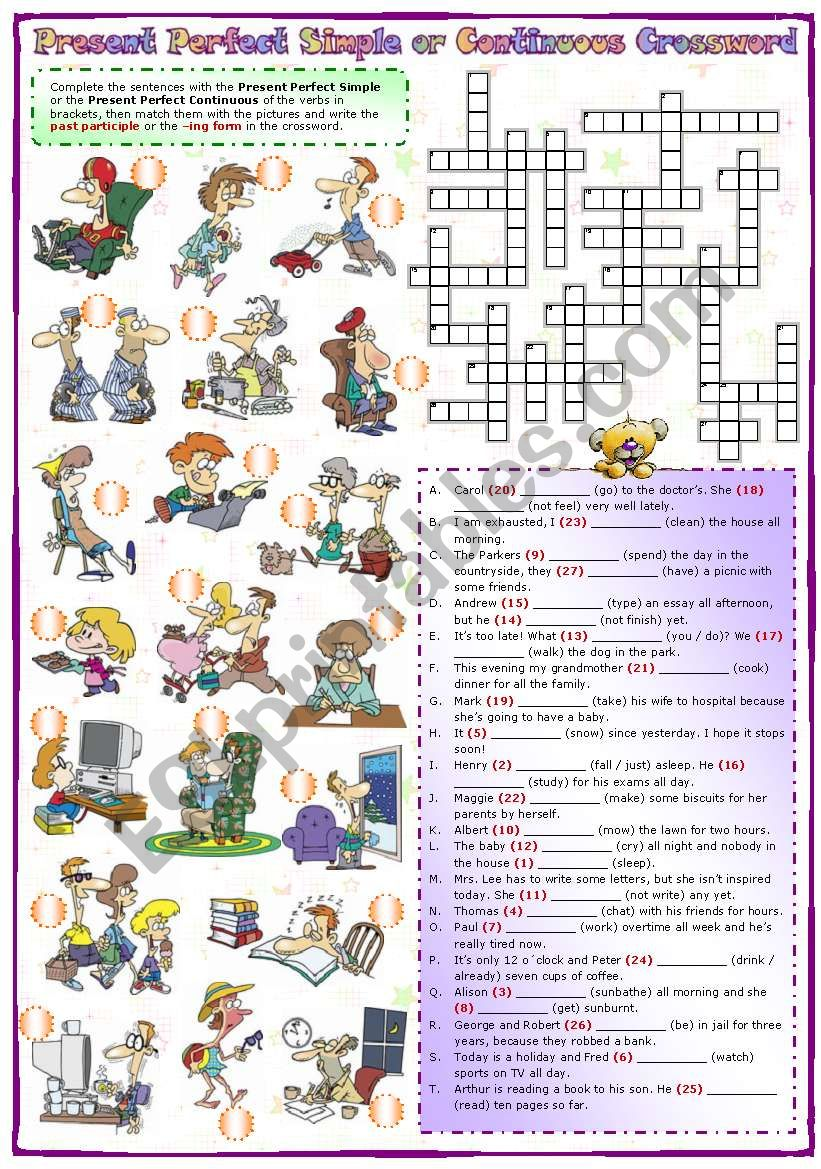 Present perfect simple or continuous Crossword