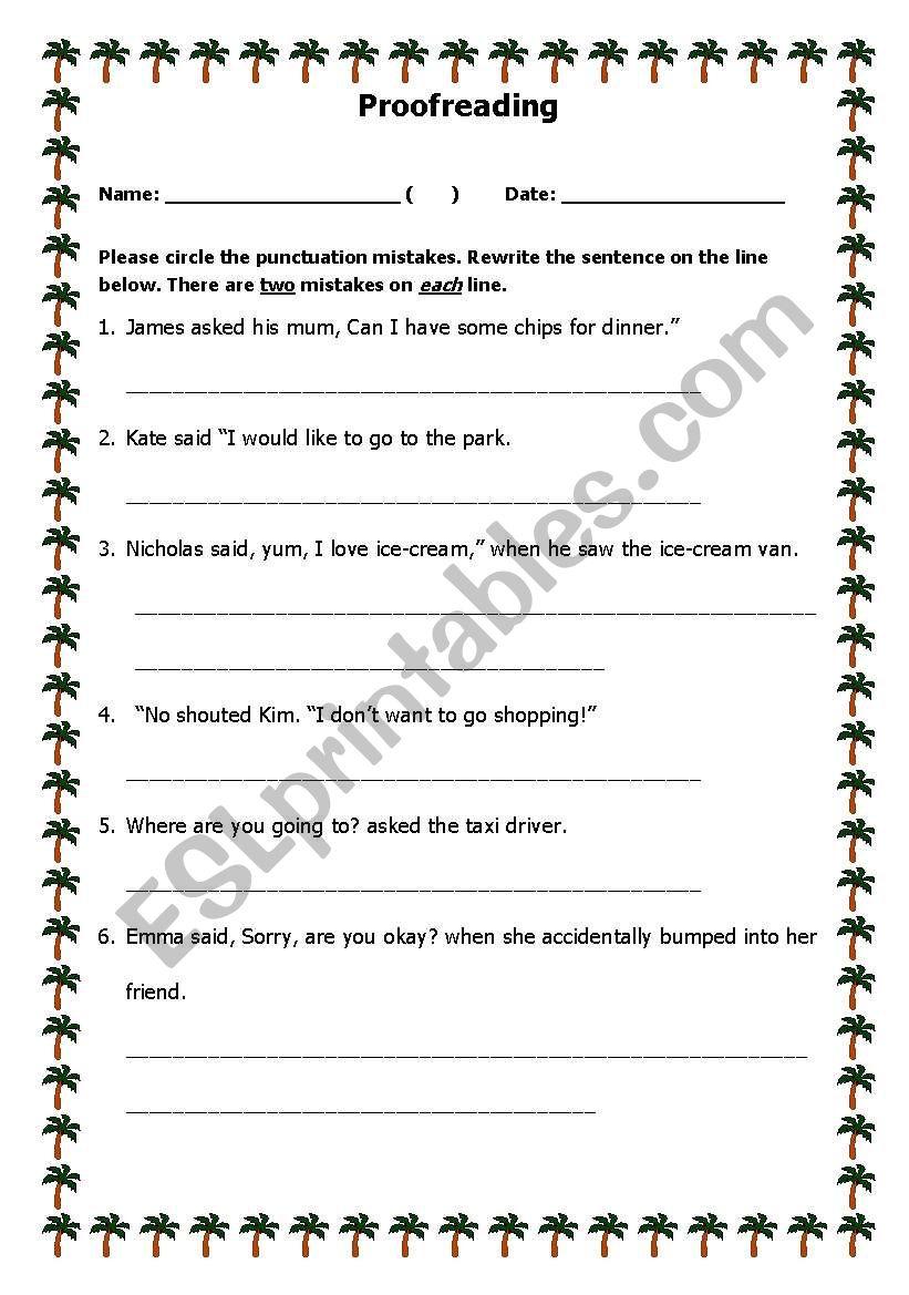 Proofreading Worksheet worksheet