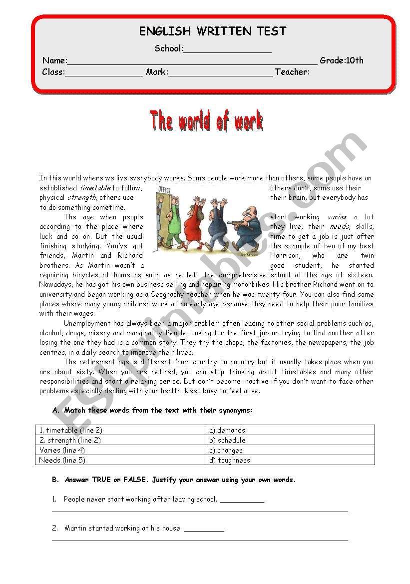 Test - M8 - The world of work worksheet