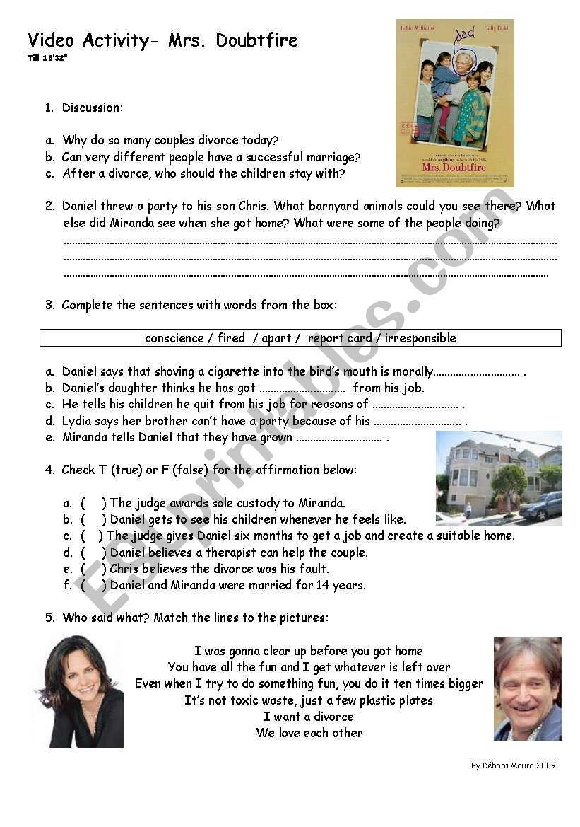 Mrs. Doubtfire worksheet