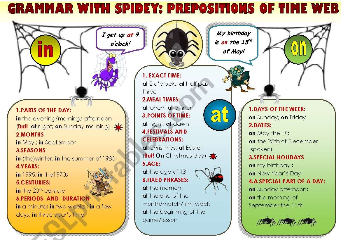 EASY GRAMMAR WITH SPIDEY! - PREPOSITIONS OF TIME WEB - FUNNY GRAMMAR-GUIDE FOR YOUNG LEARNERS IN A POSTER FORMAT (part 9)
