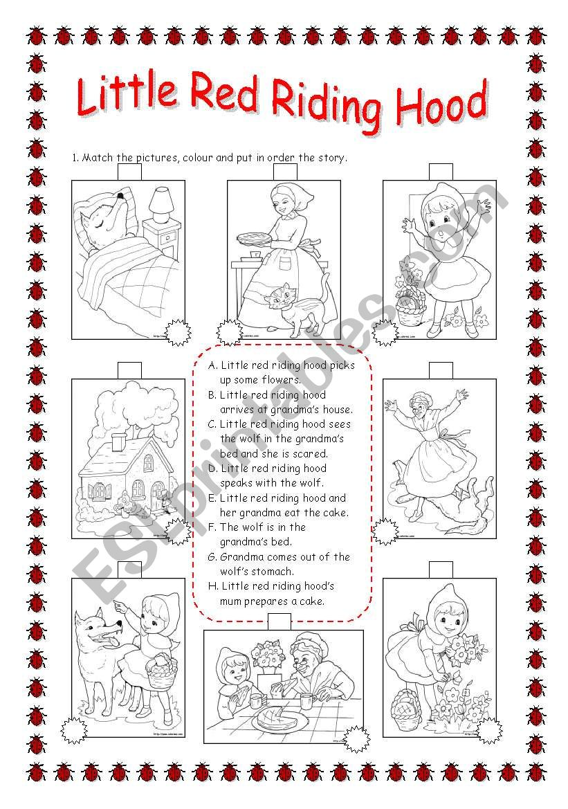 Revising Parts Of The Body Little Red Riding Hood Esl Worksheet
