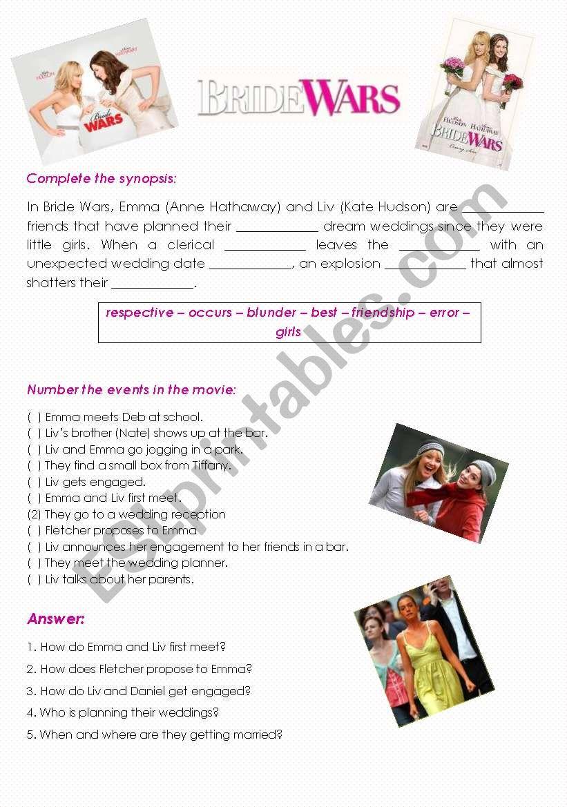 Bride Wars Movie Activity worksheet