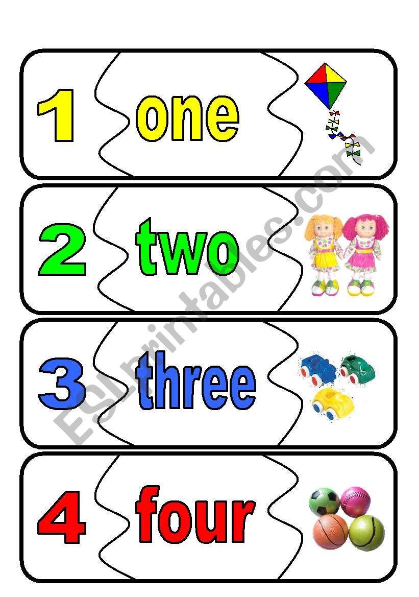 number flashcards worksheet