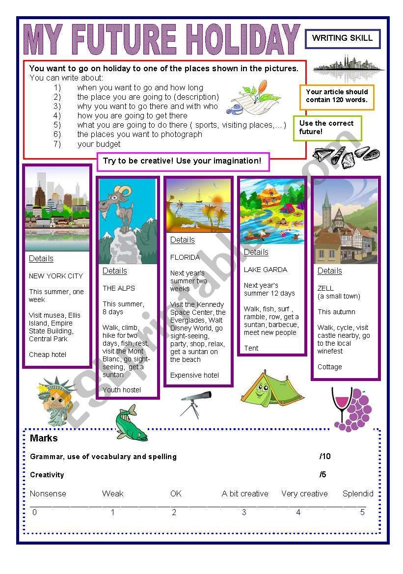 My future holiday writing worksheet