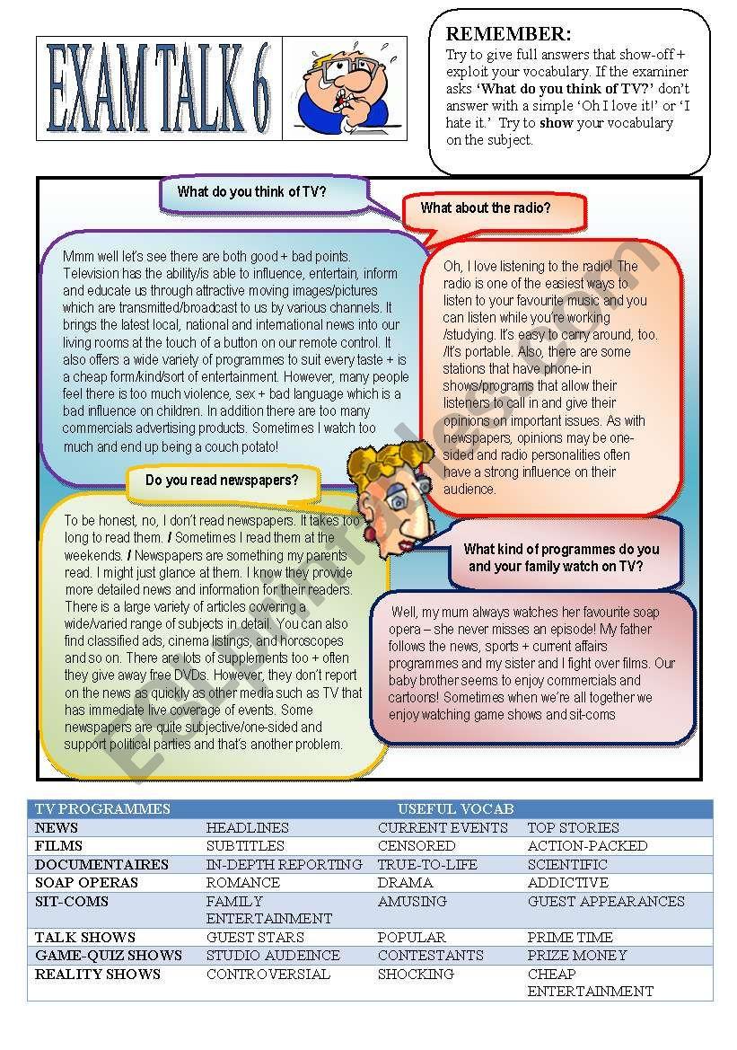 Speaking Preparation 6 Media. worksheet