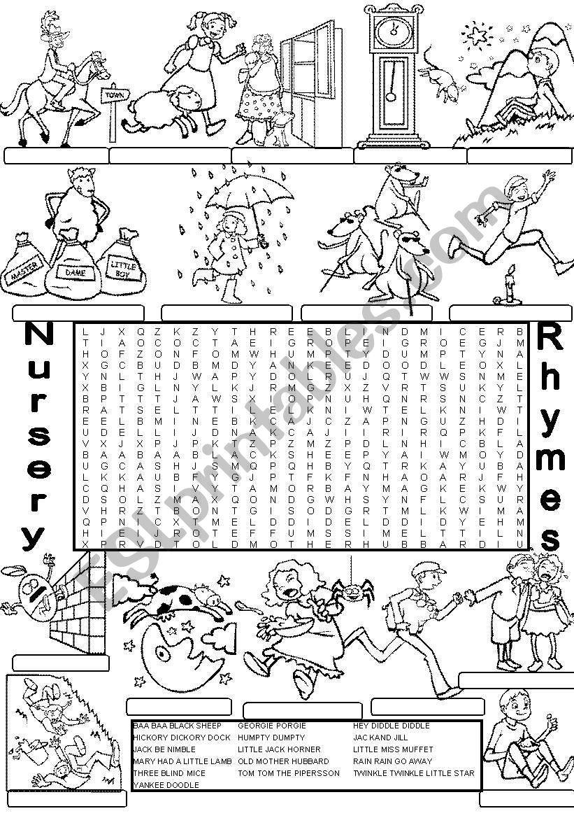 wordsearch NURSERY RHYMES worksheet