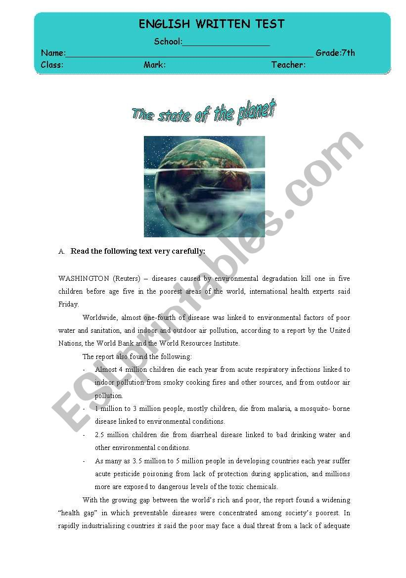 Test - The state of the planet