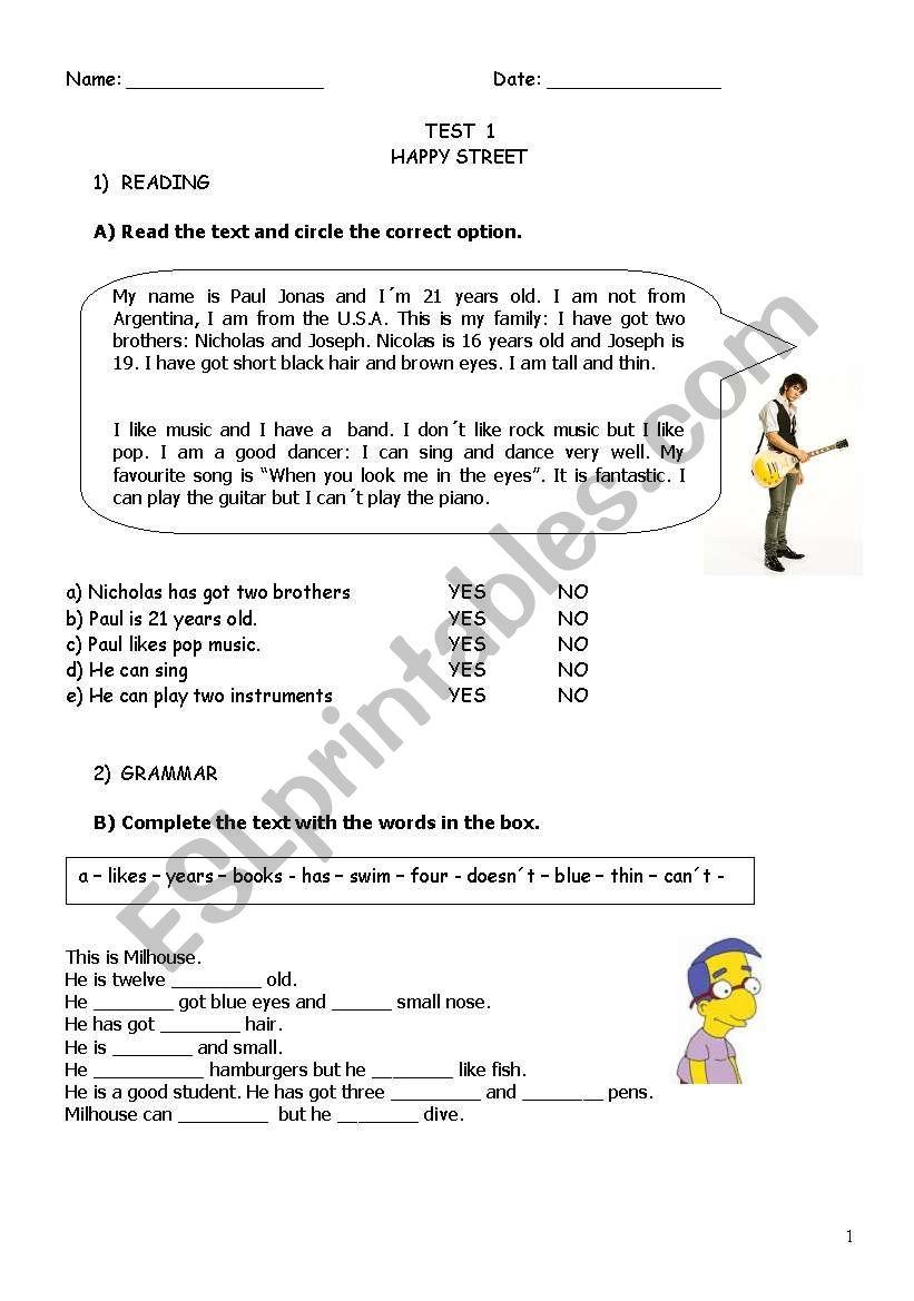 Test:  worksheet