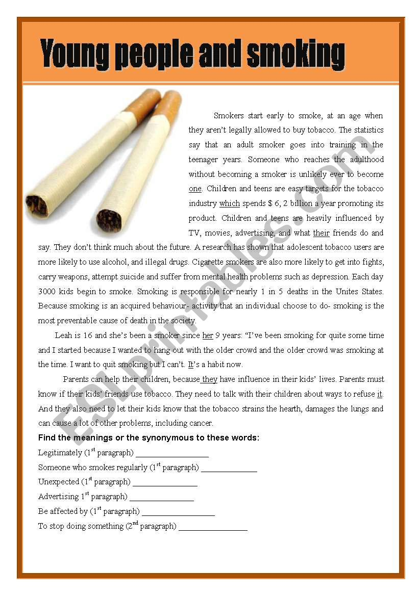 Young people and smoking worksheet