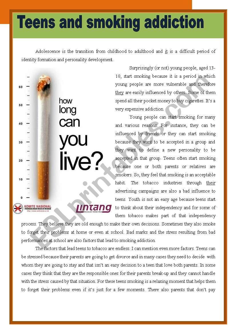 Teens and smoking addiction worksheet