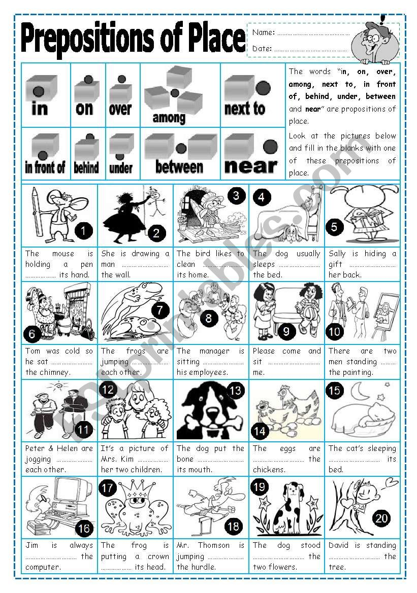 Prepositions of Place (2) worksheet