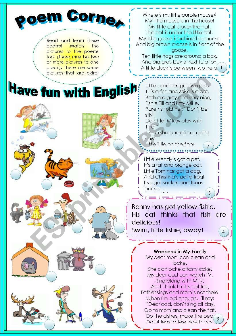 LEARN SOME INTERESTING POEMS! HAVE FUN WITH ENGLISH!