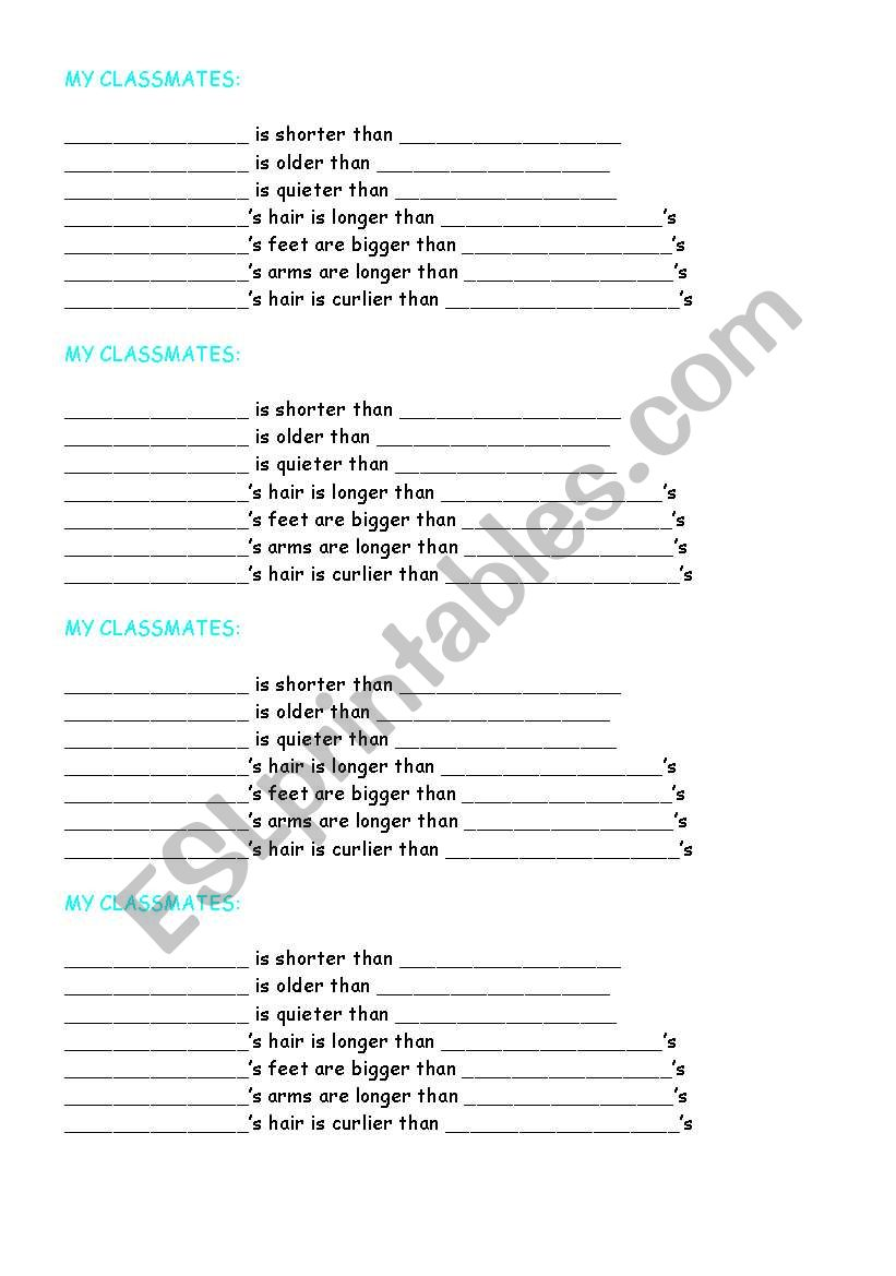 INTERACTIVE COMPARATIVES GAME worksheet