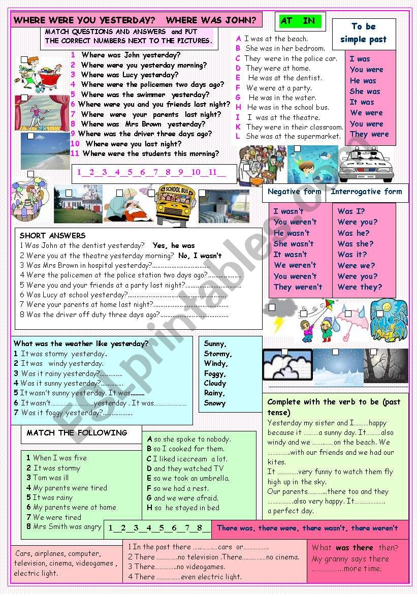 Where were you yesterday? worksheet