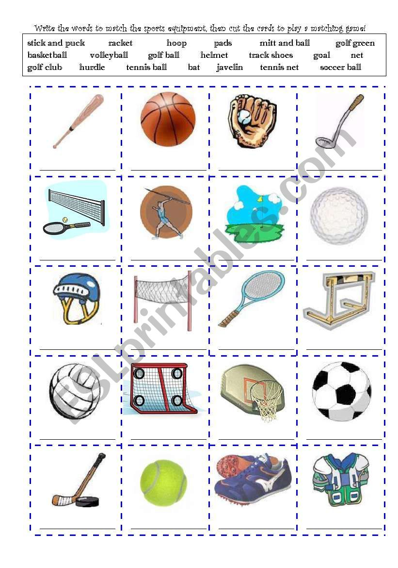 sports equipment and actions write and cut out cards 2 pages backings esl worksheet by gkole70. Black Bedroom Furniture Sets. Home Design Ideas